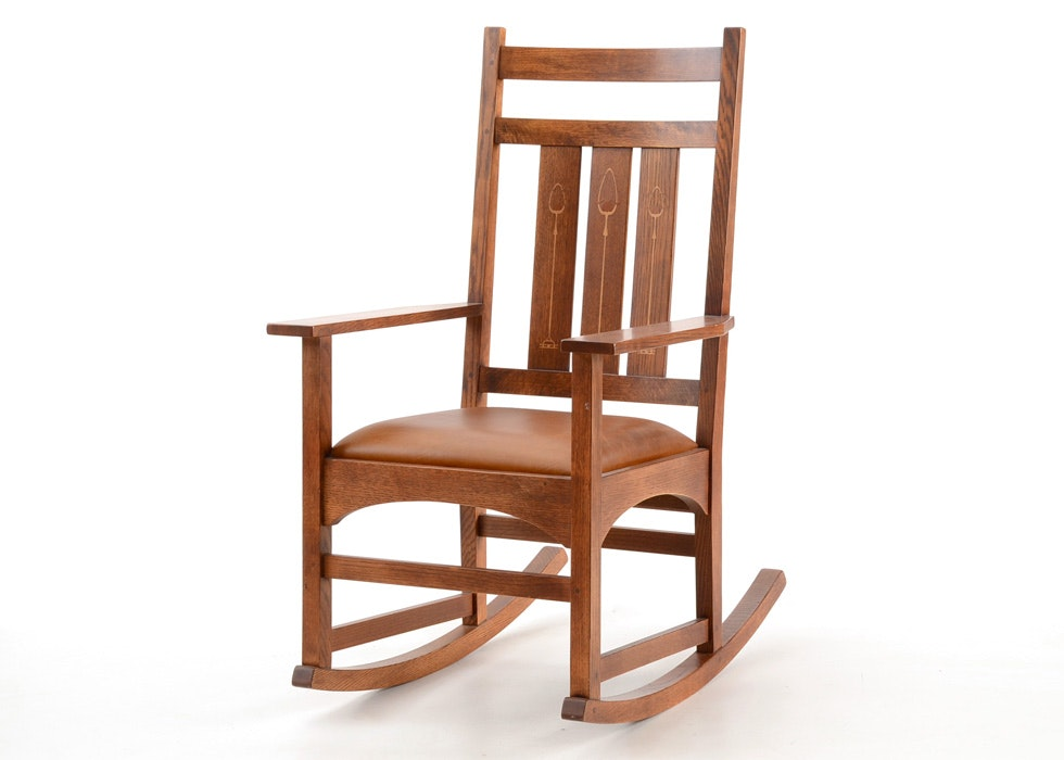 Stickley Harvey Ellis Solid Oak Inlaid Rocking Chair