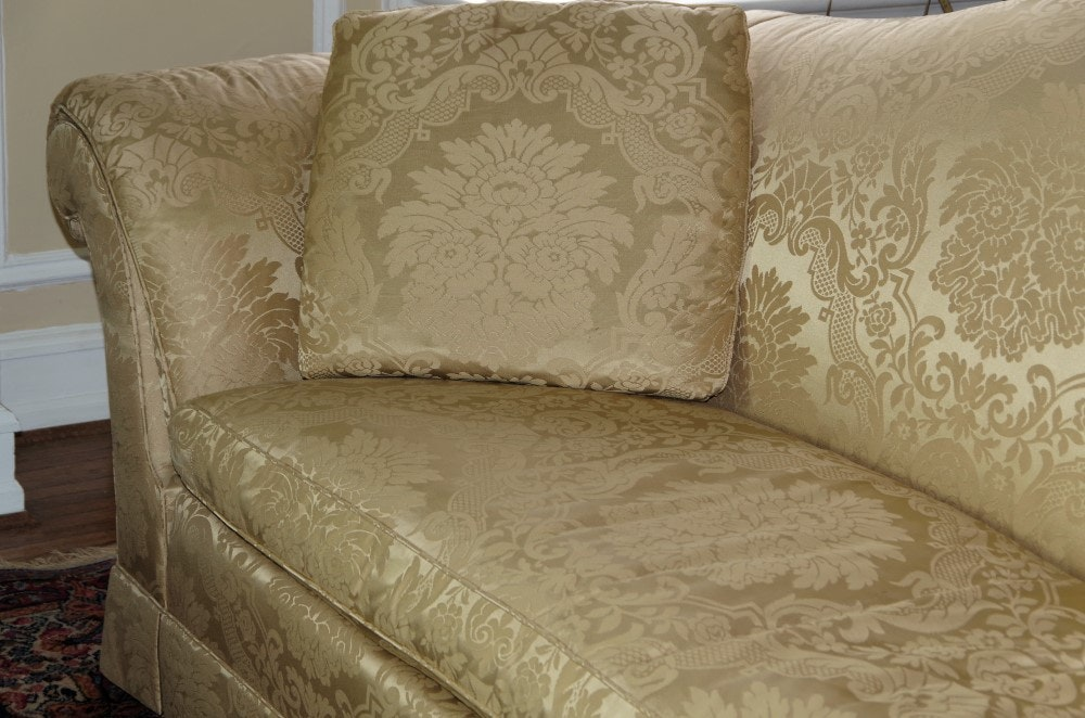 Baker Furniture Camelback Sofa Muted Gold Damask
