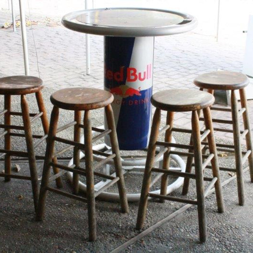 Red bull bar table with four wooden stools ebth red bull bar table with four wooden stools watchthetrailerfo