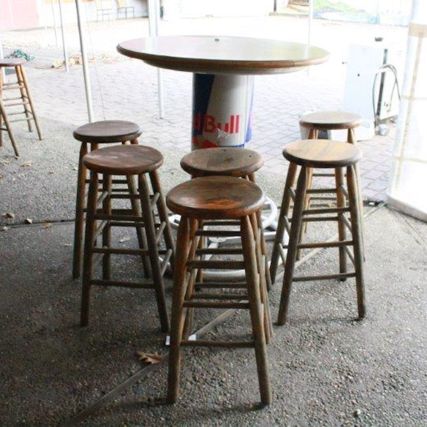 Red bull bar table with wooden top and six stools ebth red bull bar table with wooden top and six stools watchthetrailerfo