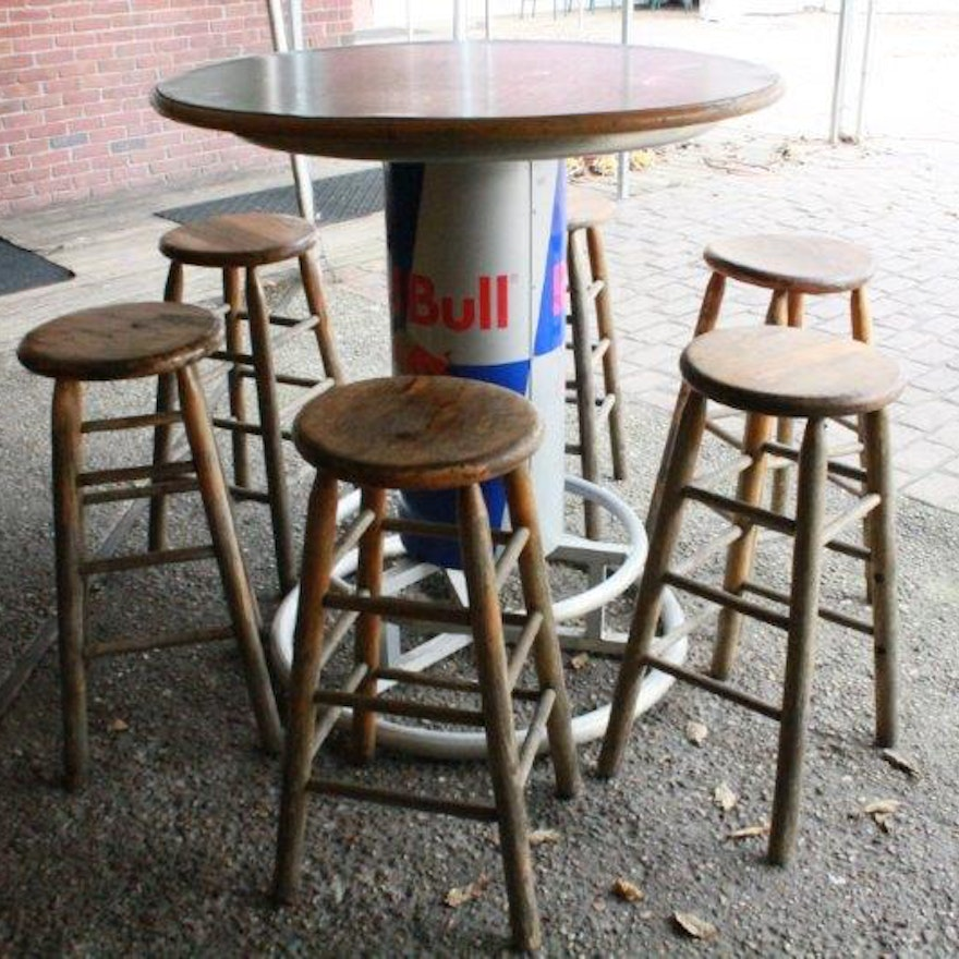 Wooden top red bull bar table with six wooden bar stools ebth wooden top red bull bar table with six wooden bar stools watchthetrailerfo