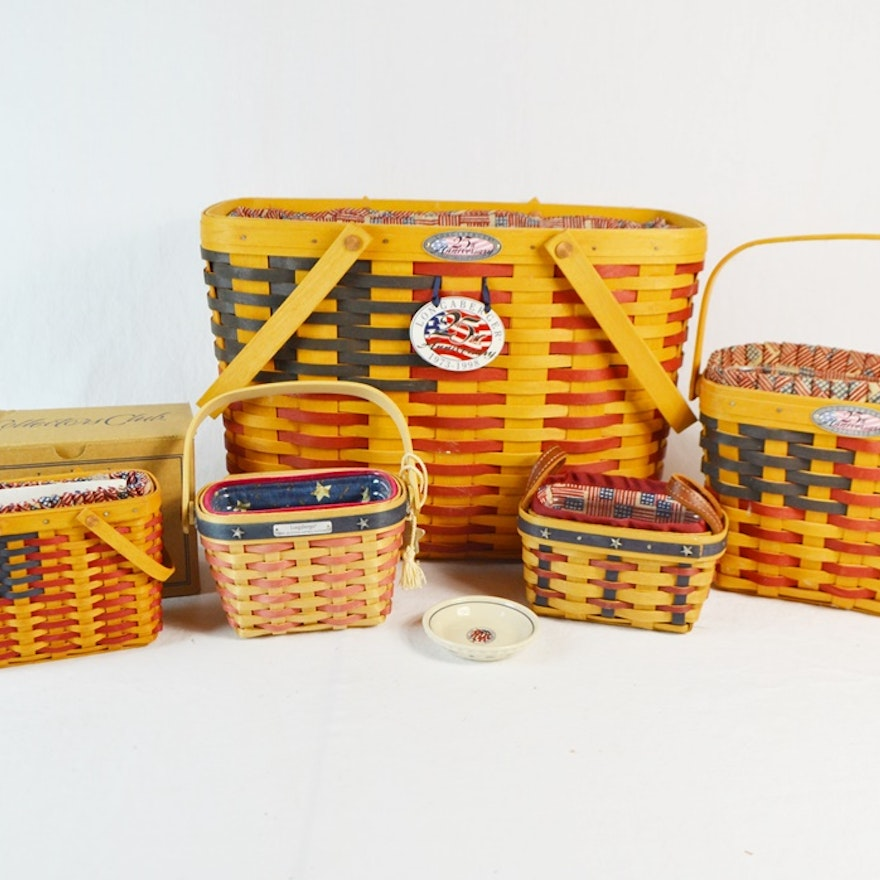 Five Longaberger Collector's Club Baskets With Patriotic Liners
