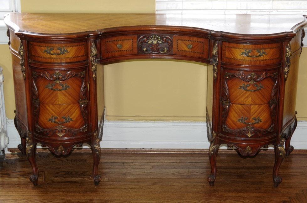 Louis XV Revival Mahogany Ladies Kidney Shaped Dressing Table ...