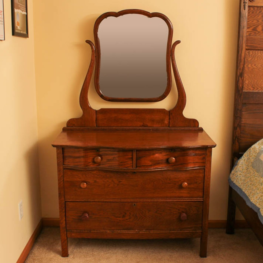 Antique Quarter Sawn Oak Dresser With Mirror