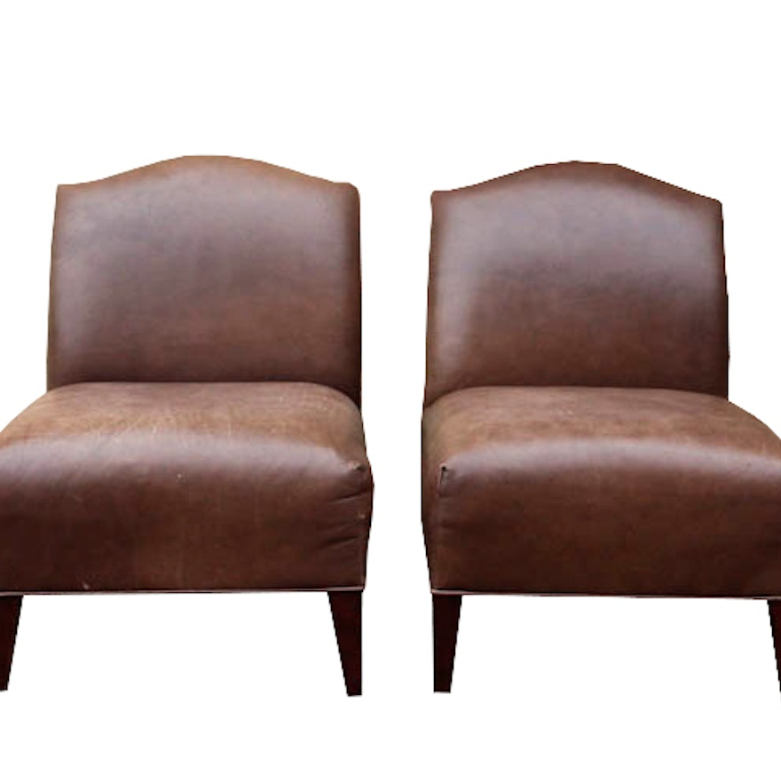 Peachy Leather Slipper Chairs In Brown Creativecarmelina Interior Chair Design Creativecarmelinacom