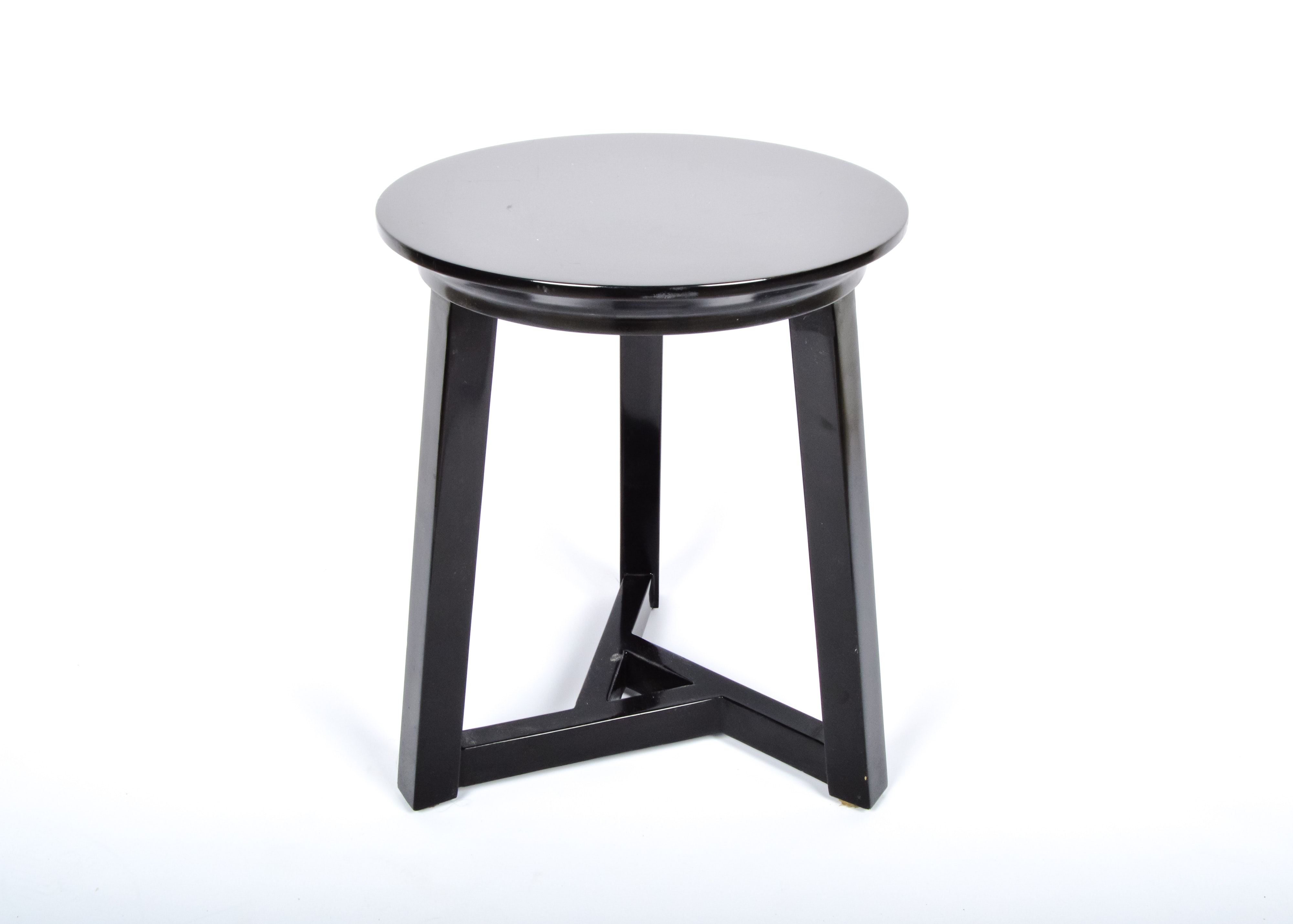 Round Black Lacquer Side Table ...