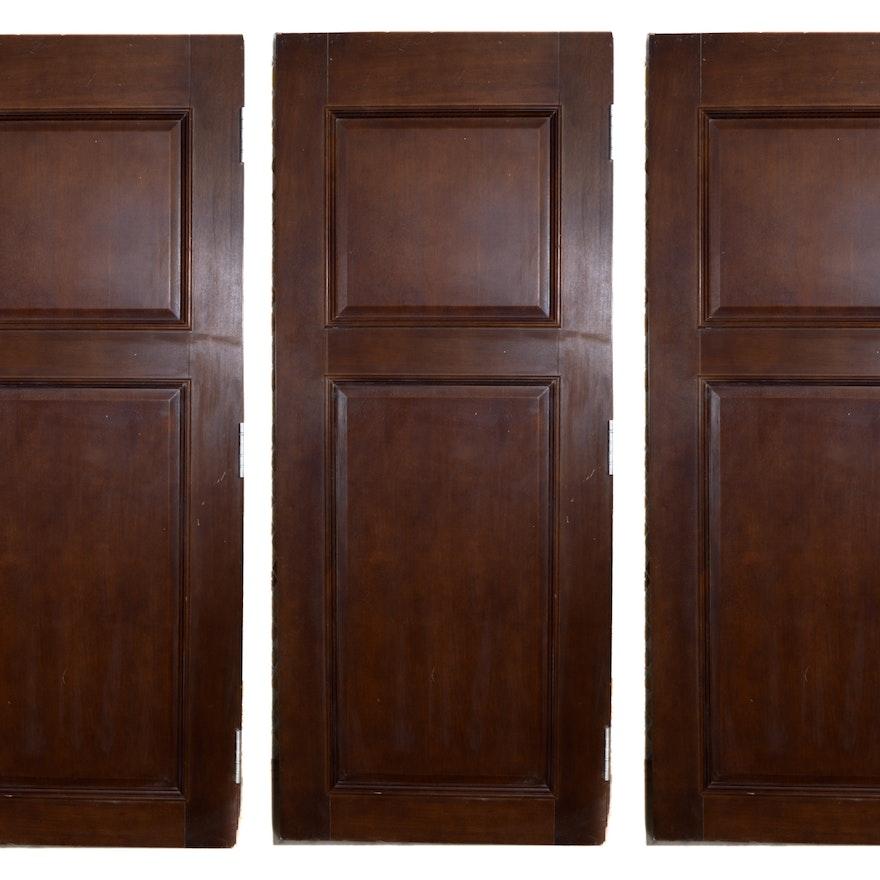 Set Of Three Dark Brown Wooden Interior Doors Ebth