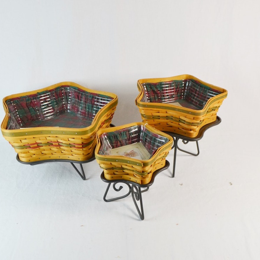 Three Longaberger Shining Star/Little Star Baskets With Stands