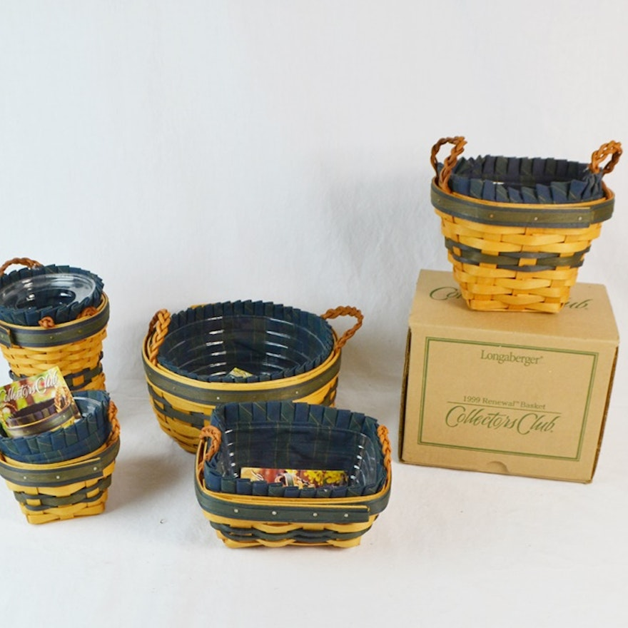 Five Small Longaberger Collector's Club Baskets