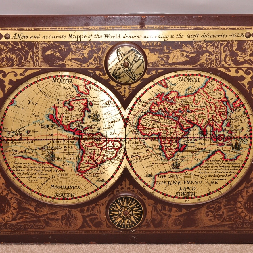 A New And Accurate Map Of The World 1628.Vintage Map Of The World In 1628 Ebth