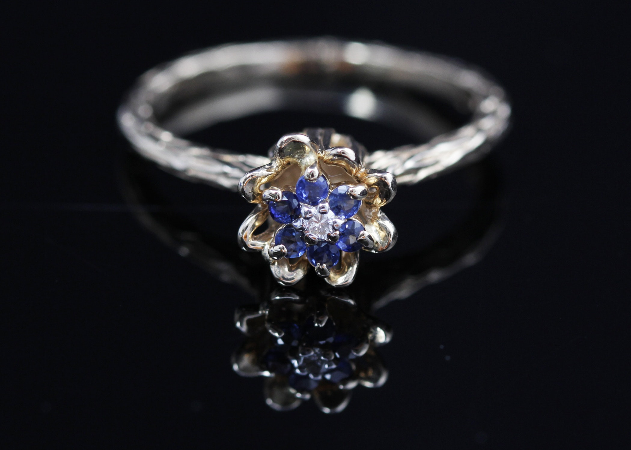 14k yellow gold and sapphire tulip ring ebth