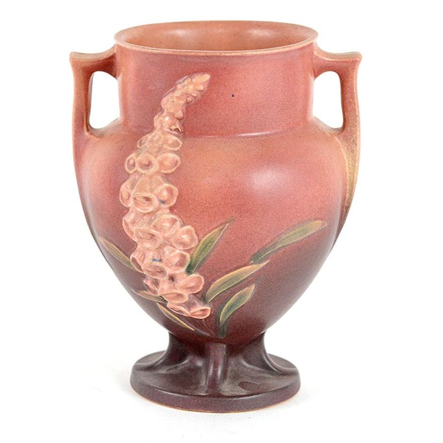 Vintage 1942 Roseville Pottery Foxglove Vase In Pink Ebth