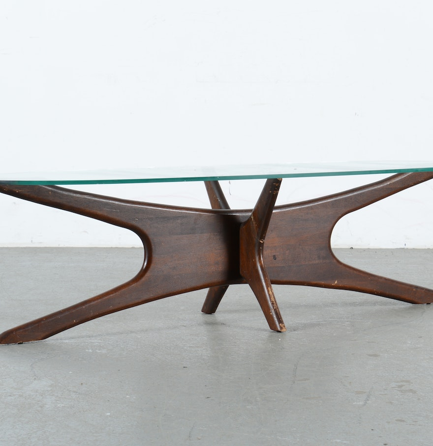 Lane Pearsall Style Mid Century Modern Coffee Table: Adrian Pearsall Style Mid-Century Modern Oval Coffee Table