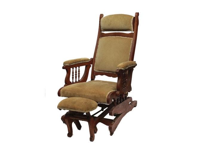 Vintage Upholstered Rocker With Extending Footrest