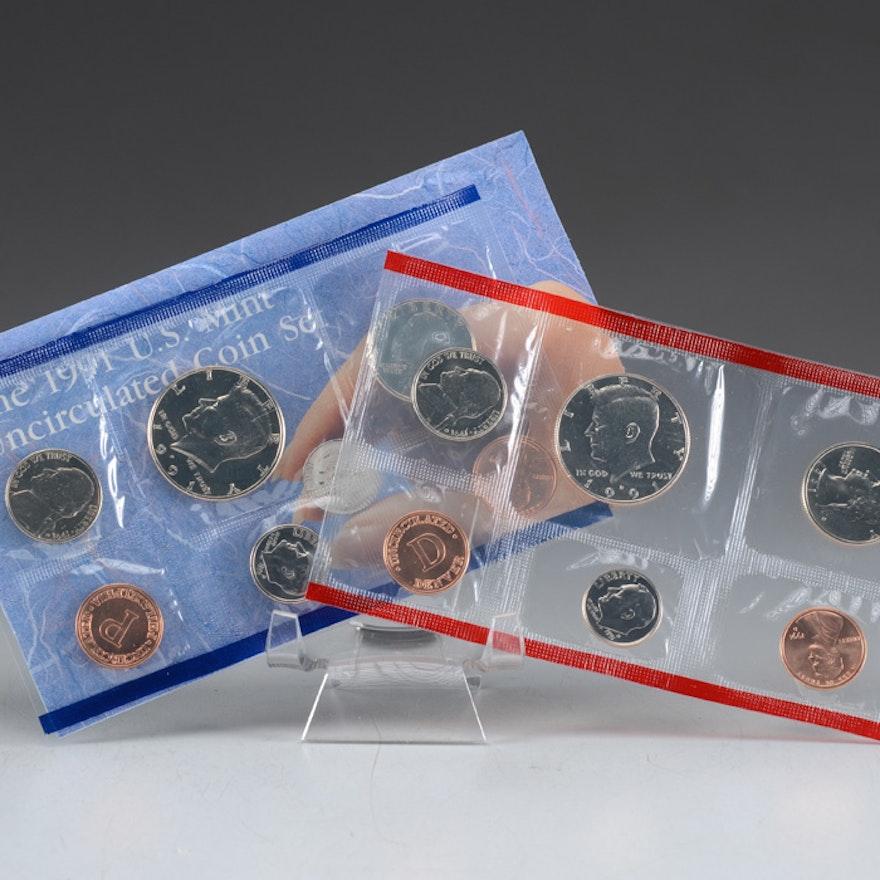 1991 Uncirculated Denver and Philadelphia Mint sets