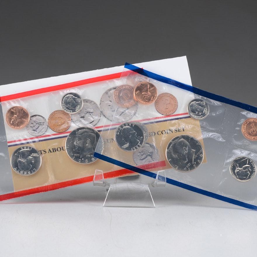 1986 Uncirculated Denver and Philadelphia Mint sets