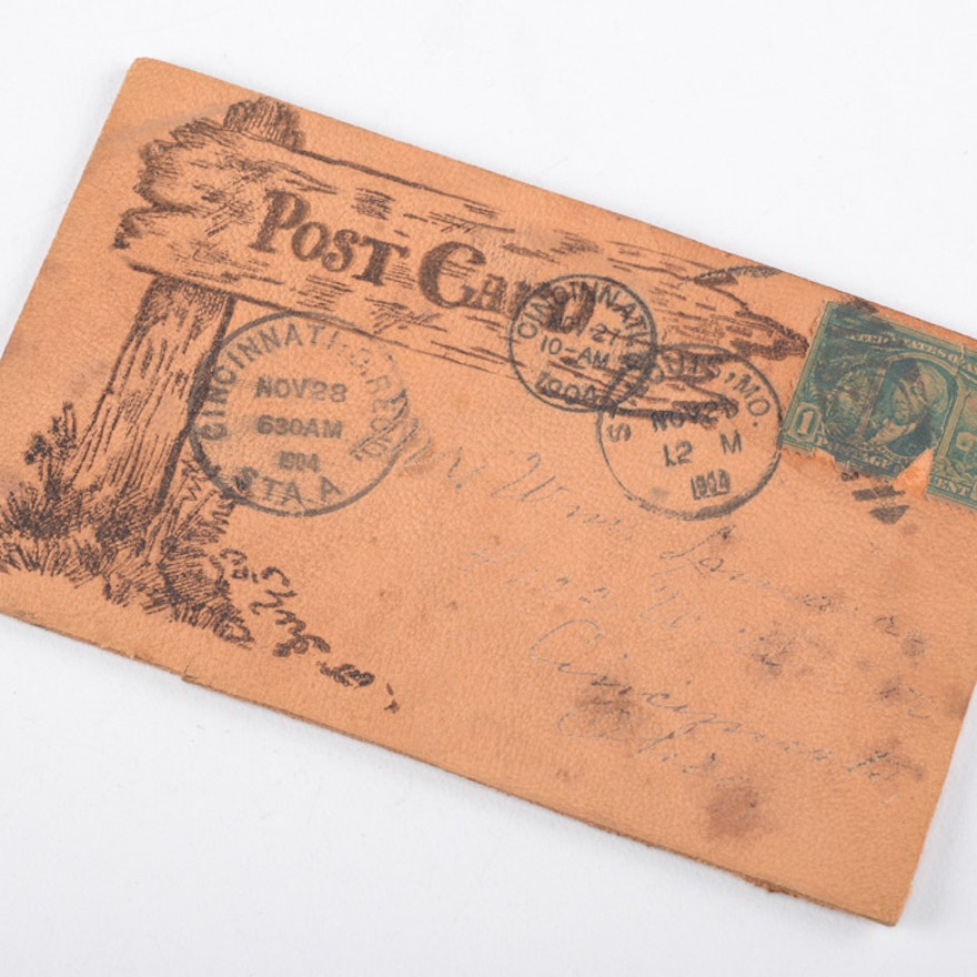 1904 Leather Postcard from St. Louis