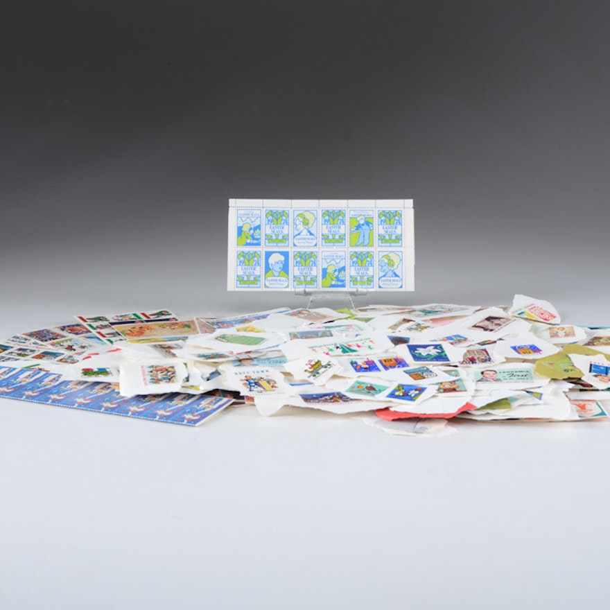 Manila Folder full of Christmas and Easter Seal Stamps