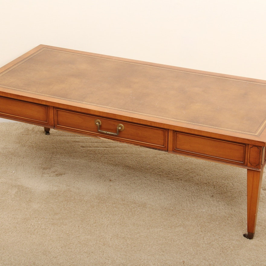 Vintage Hekman Furniture Leather Inlay Coffee Table Ebth