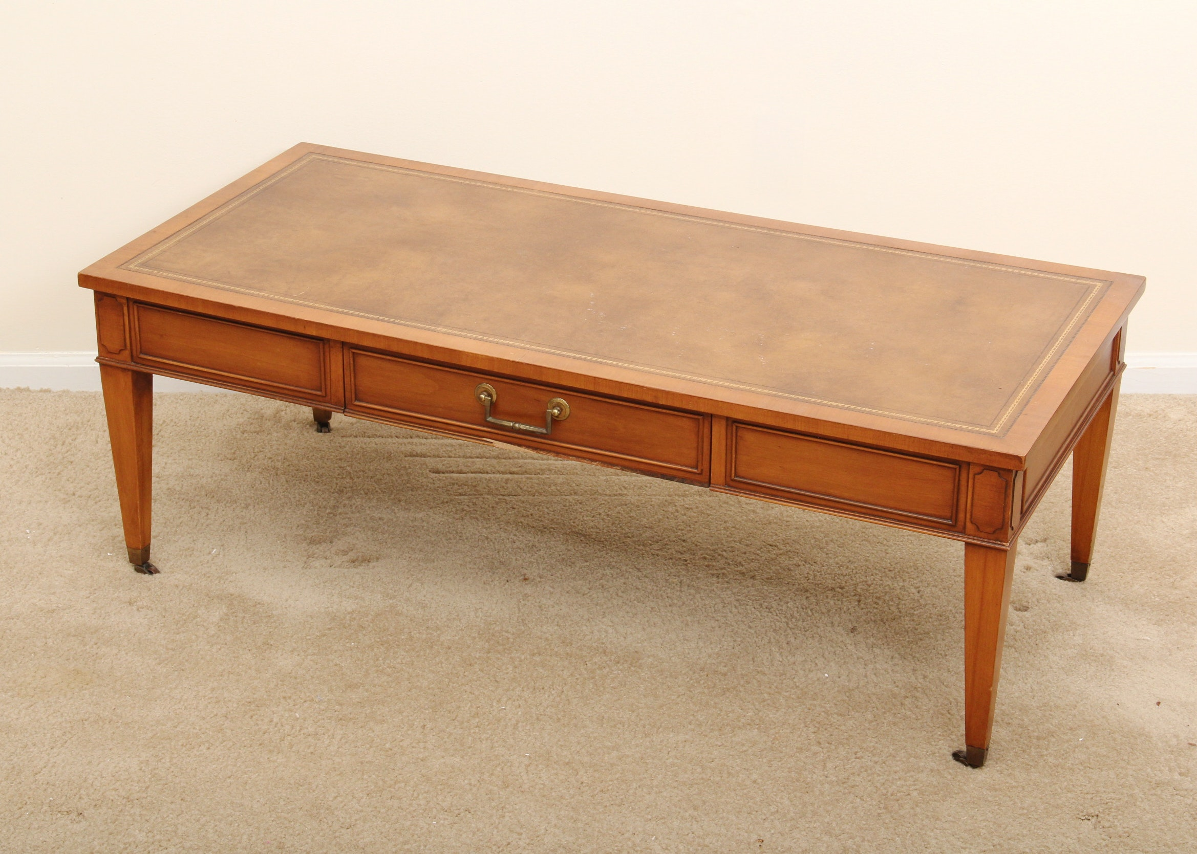 vintage hekman furniture leather inlay coffee table