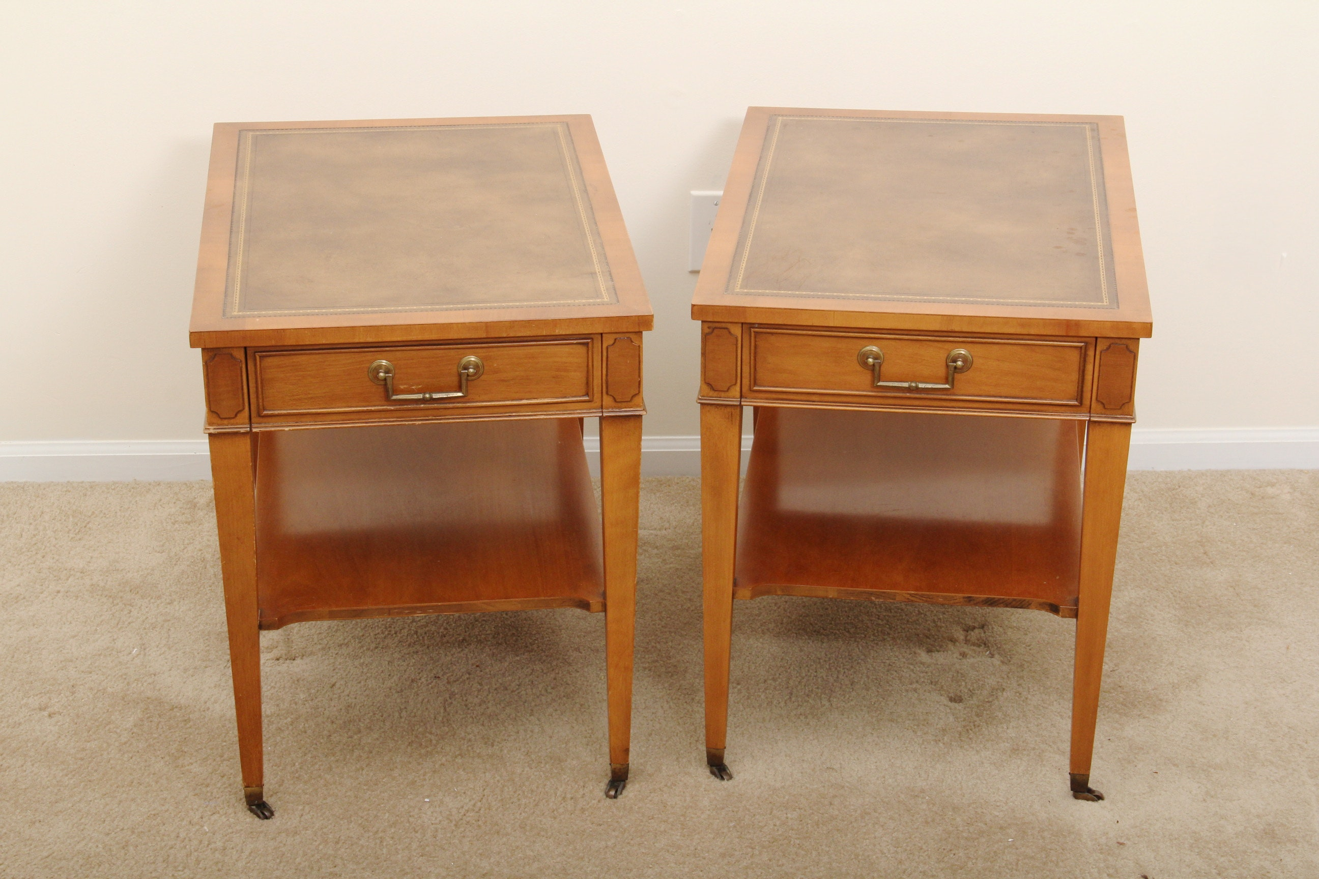 pair of hekman furniture leather inlay oak side table - Hekman Furniture