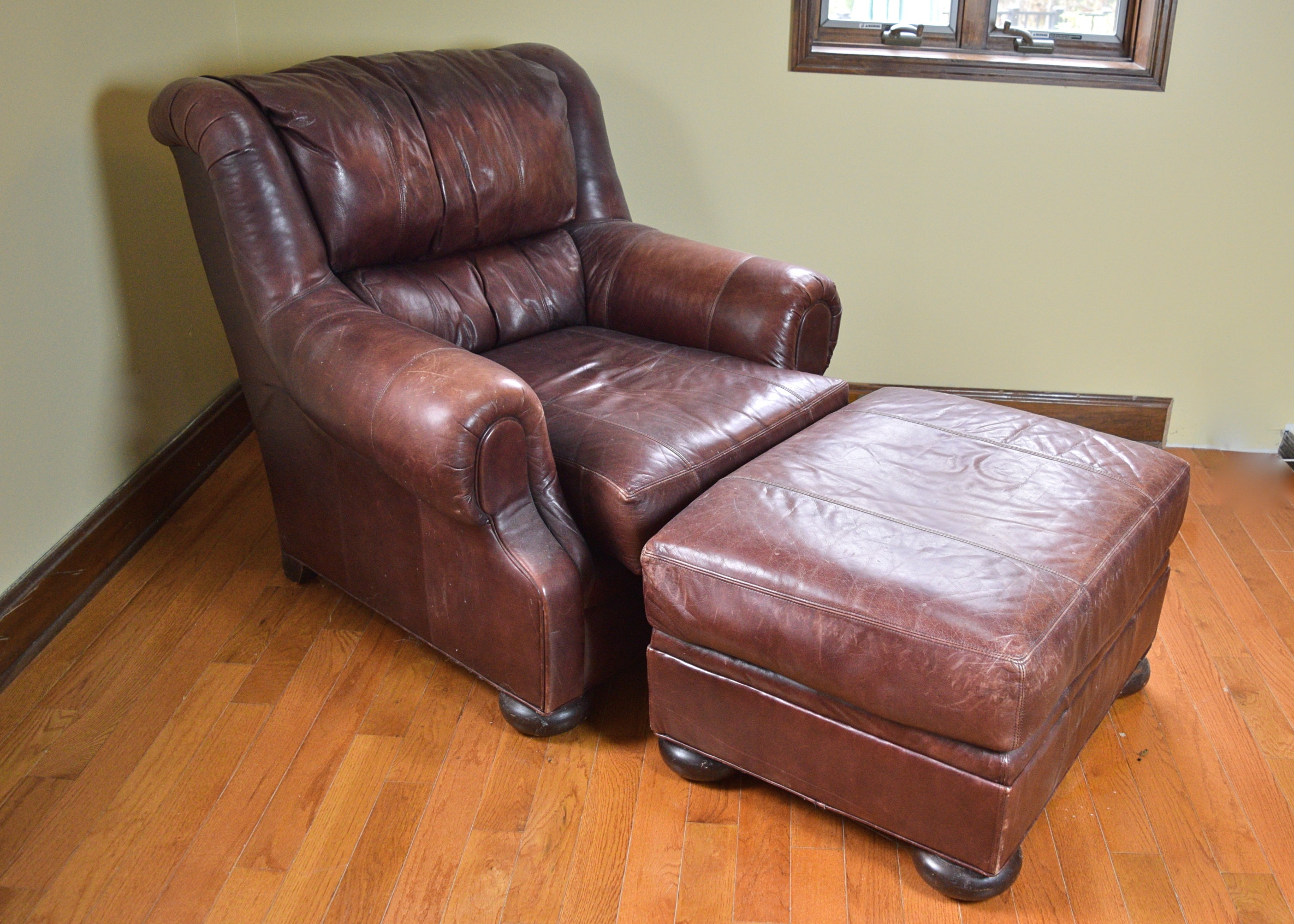 Henredon Leather Chair And Ottoman ...