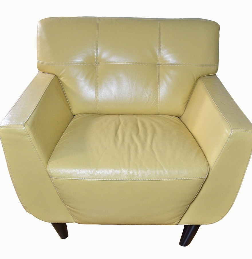 chateau d'ax yellow leather chair  ebth - chateau d'ax yellow leather chair