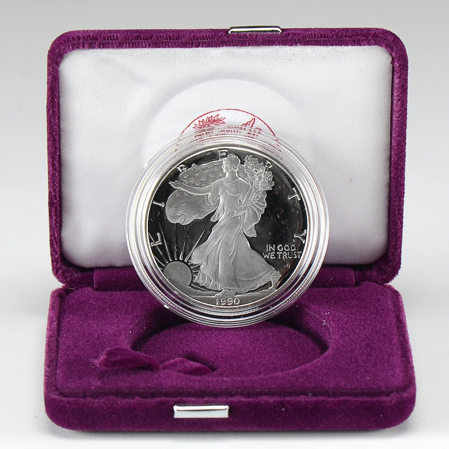 1990 S One Dollar U.S. Silver Eagle Proof Coin