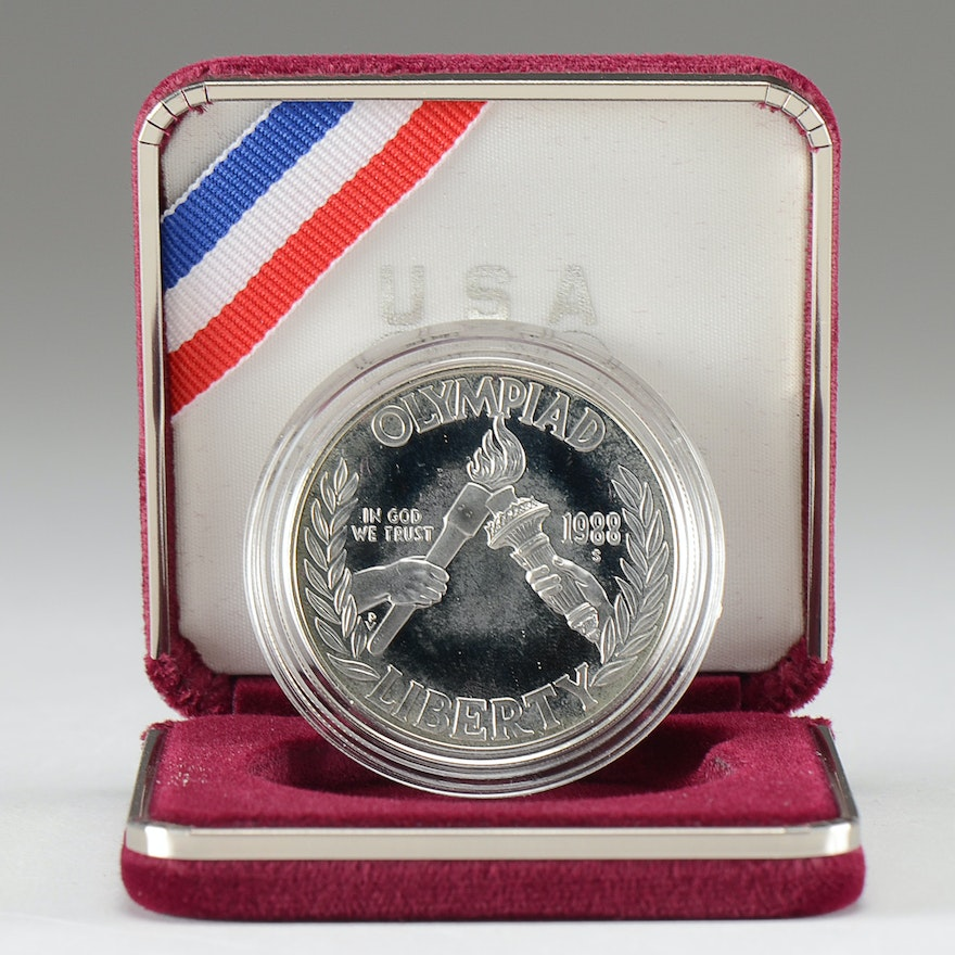 1988 S Olympics Commemorative One Dollar Silver Proof Coin