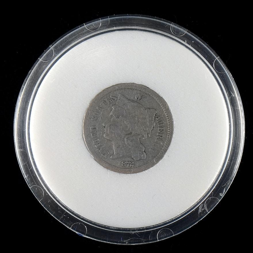 1872 Nickel Three Cent Coin