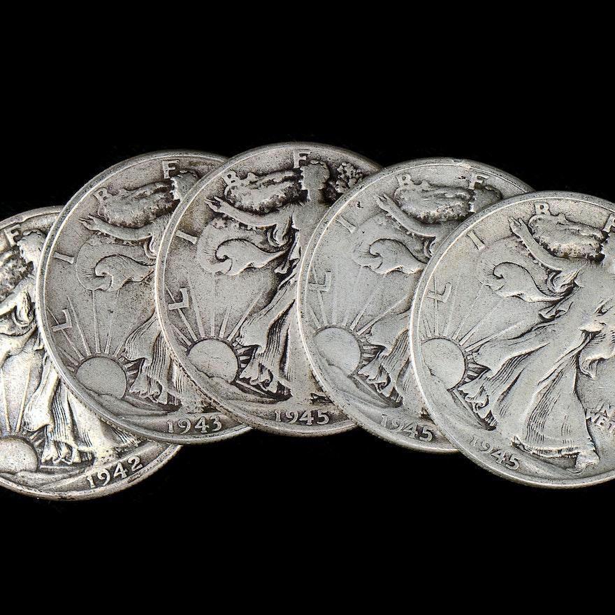 Group of (5) Walking Liberty Silver Half Dollars
