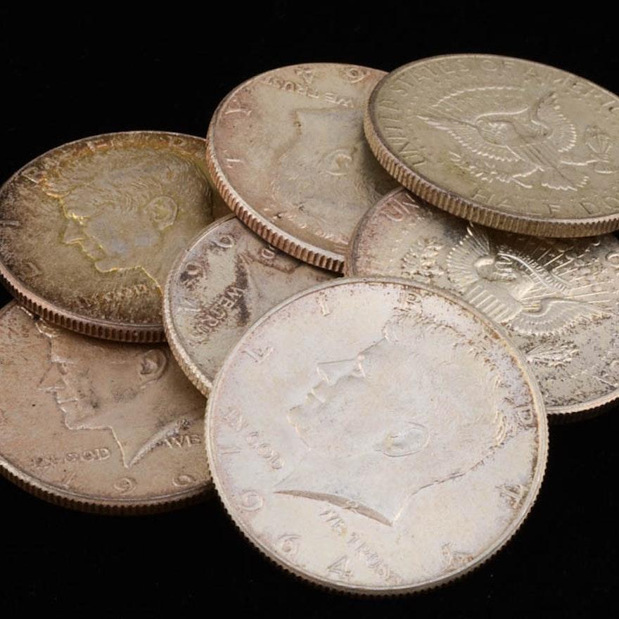 Group of (7) 1964 JFK Silver Half Dollars