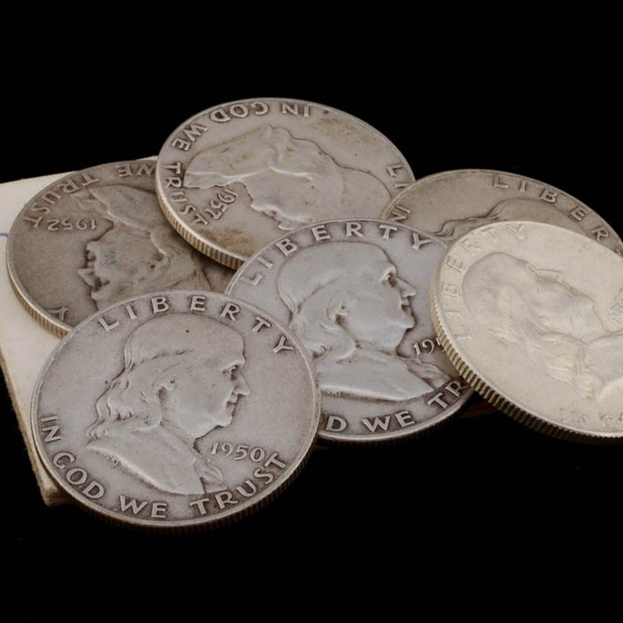 Group of (7) Benjamin Franklin Silver Half Dollars