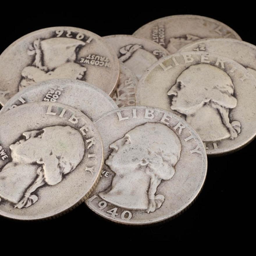Group of (9) George Washington Silver Quarters