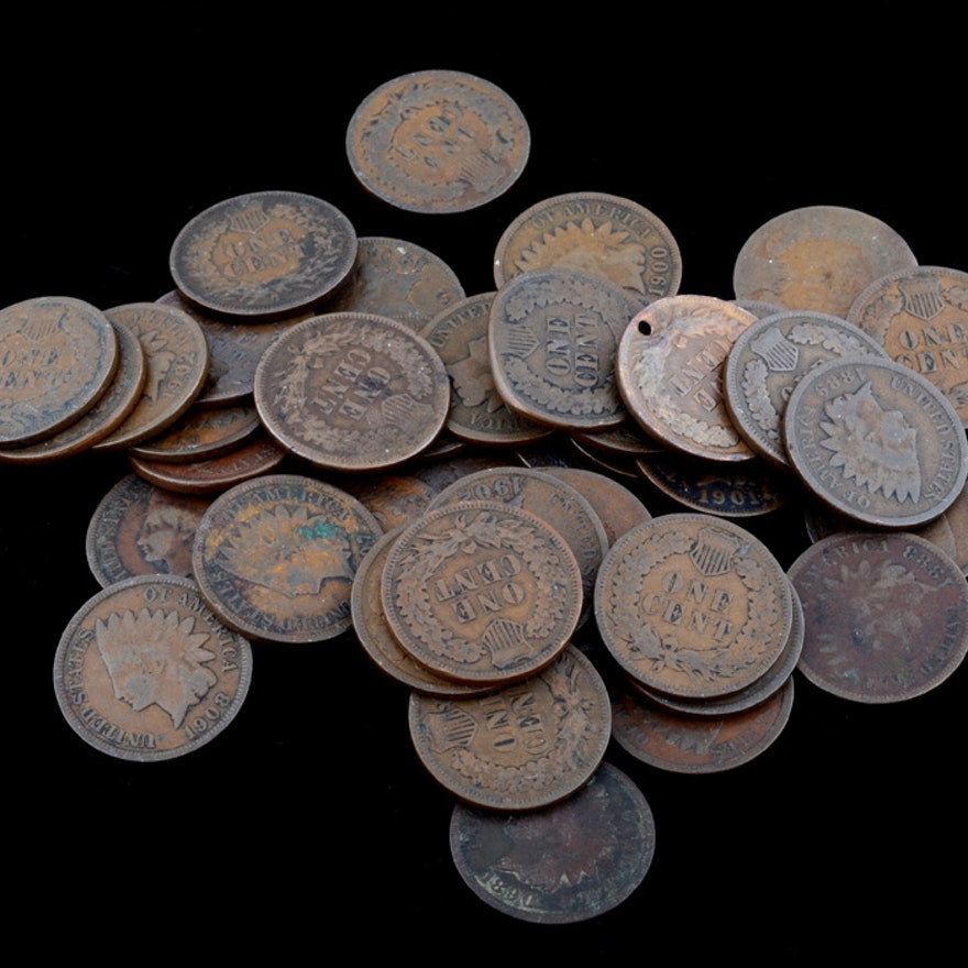 A Group of (43) Indian Head Pennies