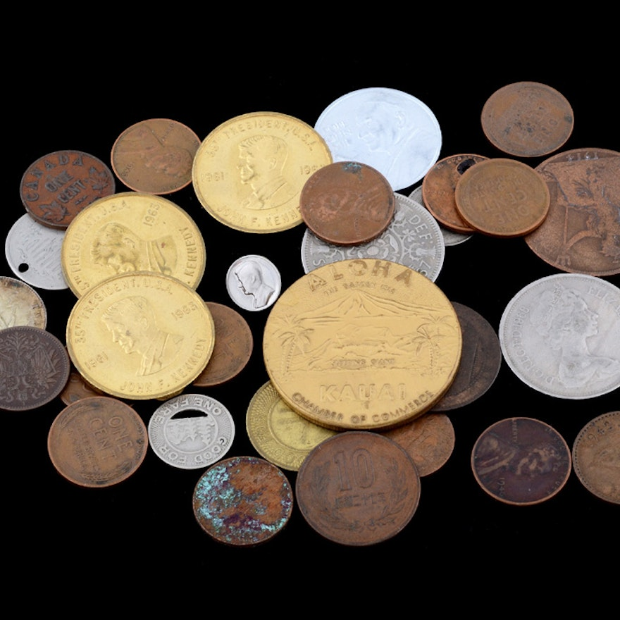 A Group of Various Coins and Tokens