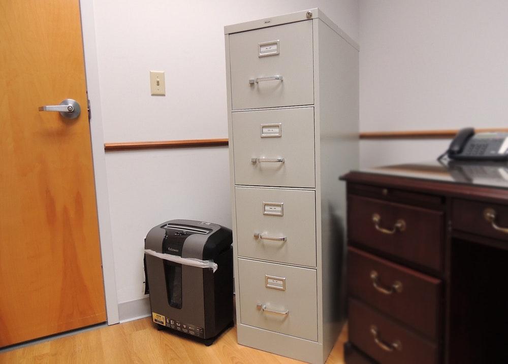 Shredder And Hirsh 4 Drawer Locking File Cabinet ...