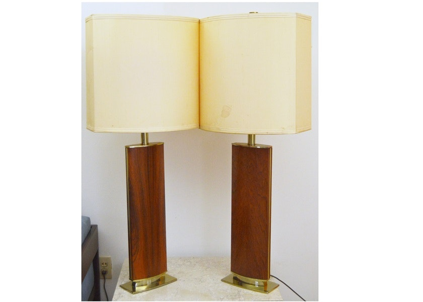Pair Of Mid Century Modern Walnut And Brass Table Lamps
