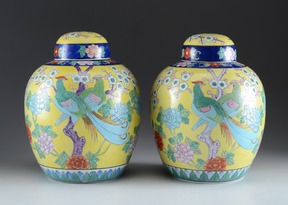 Awesome Pair Of Hand Painted Chinese Ginger Jars