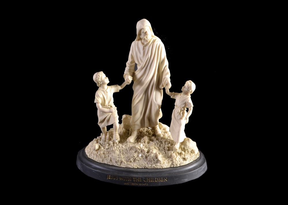 master peace figurine jesus and the children ebth