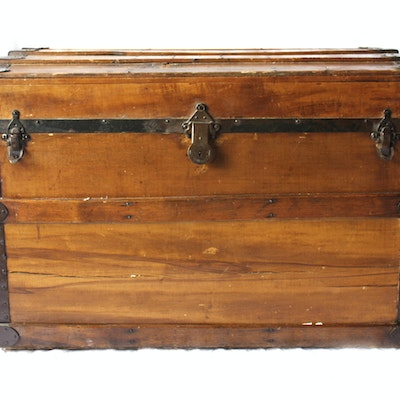 Wood and Metal Steamer Trunk - Online Furniture Auctions Vintage Furniture Auction Antique