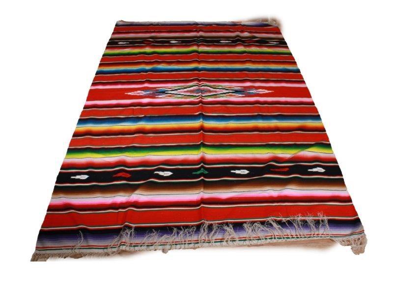 Vintage Mexican Handwoven Wool Blanket Rug Ebth