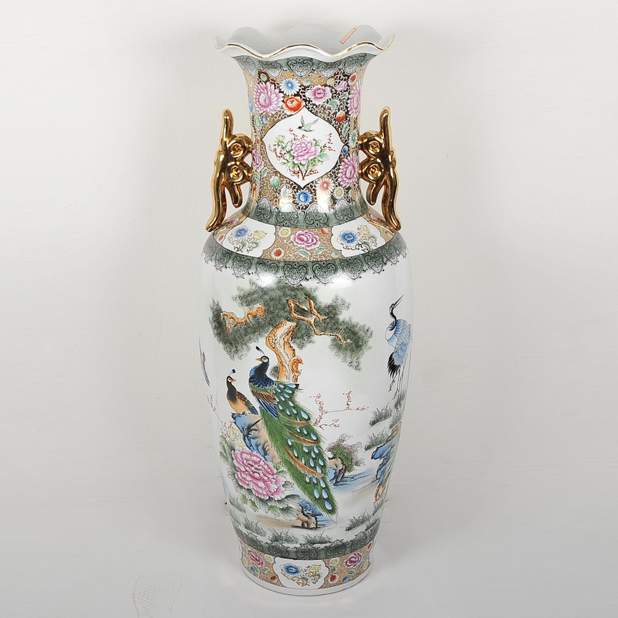 Asian-Inspired Ceramic Floor Vase : EBTH on large vases, asian paintings, oriental style vases, asian bamboo, japanese tall vases, tall clay vases, big decorative vases, oversized vases, asian bowls, vintage glass vases, asian clothing, asian clocks, asian floor beds, asian mirrors, asian lamps, oriental porcelain vases,