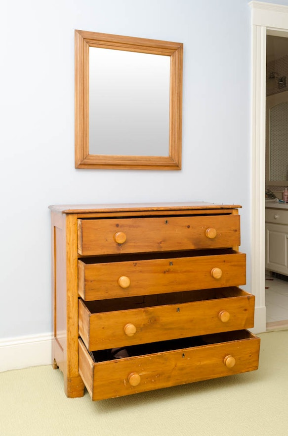 Antique Pine Dresser With Mirror Ebth