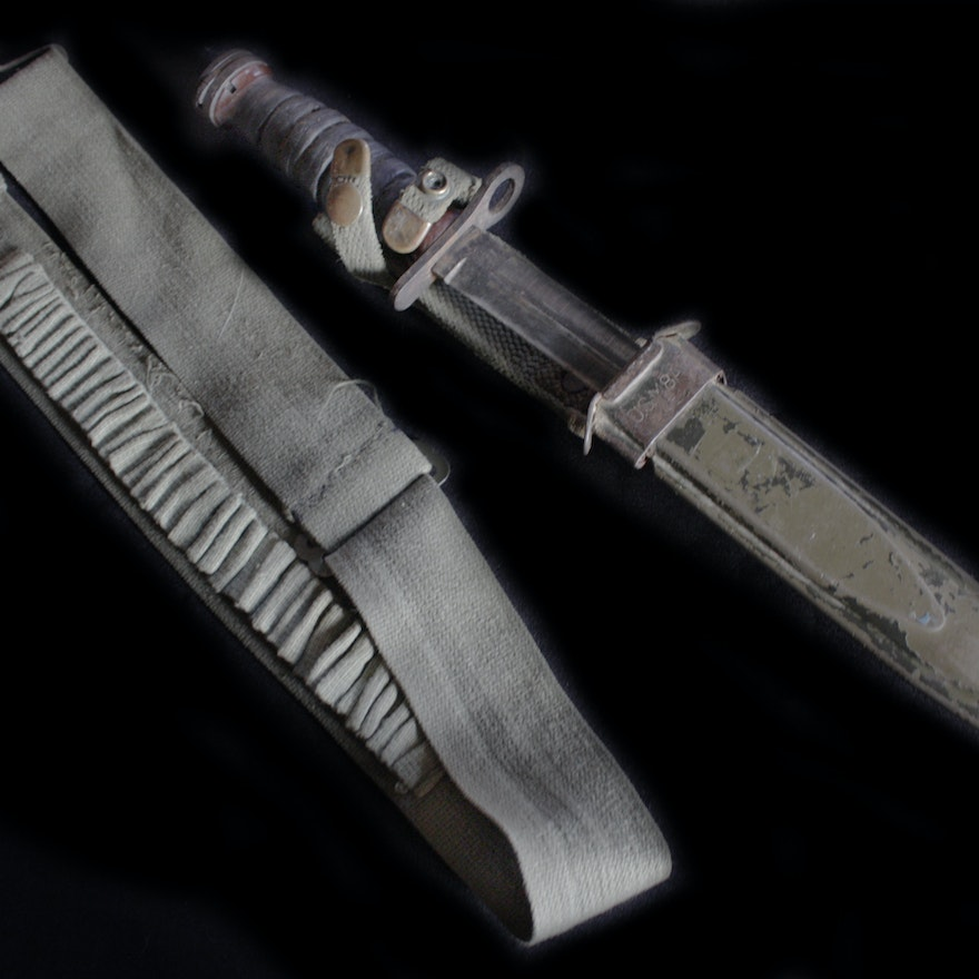WWII US M4 Bayonet Knife and Scabbard