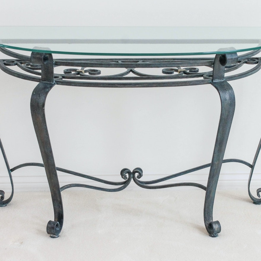 Wrought Iron Glass Top Sofa Table Ebth