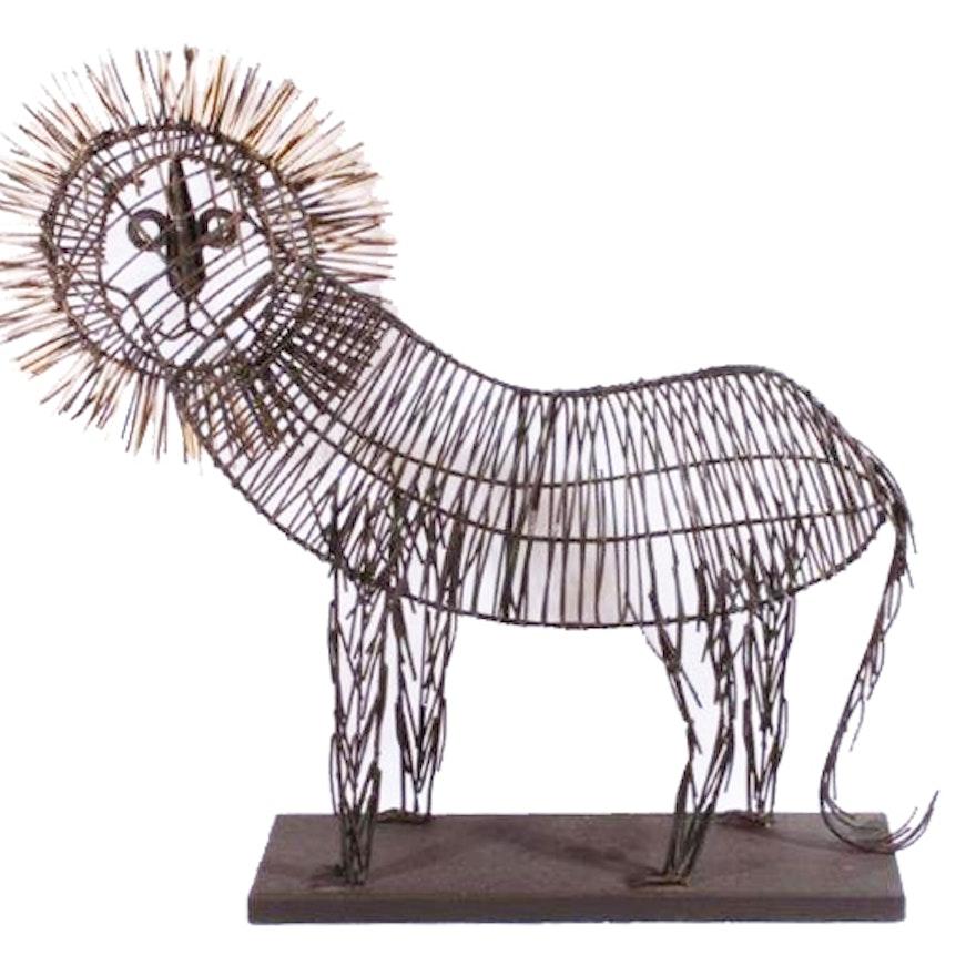 Modern Curtis Jere Style Wire Lion Wire Sculpture : EBTH