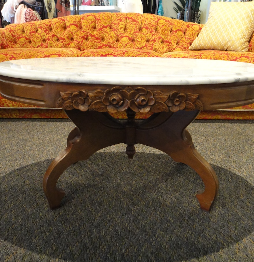 Vintage Maple Oval Coffee Table With Marble Top Ebth