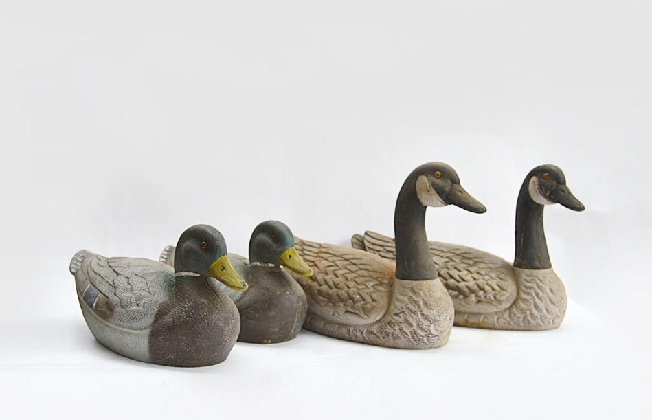 Two Vintage JC Higgins Duck Decoys and Two Arduk Goose Decoys