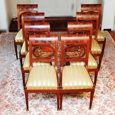Antique Mahogany Hand-Carved Inlaid Vienna Biedermeier Chairs - Online Furniture Auctions Vintage Furniture Auction Antique